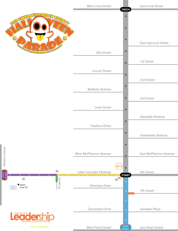 2019 Halloween Parade Route Map